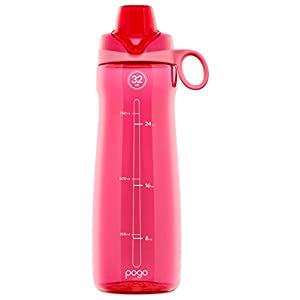 Pogo BPA-Free Plastic Water Bottle with Chug Lid, Pink, 32 oz.
