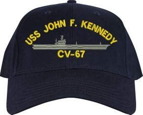 - United States Navy USS John F. Kennedy CV-67 Aircraft Carrier Ship Emblem Patch Hat Navy Blue Baseball Cap