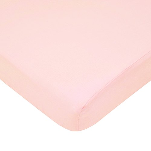 American Baby Company Fitted Portable/Mini Crib Sheet, 100% Natural Cotton Percale, Blush, Soft Breathable, for Girls