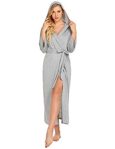 Ekouaer Womens Solid Colored Robe, Cotton Long Hooded Bathrobe with a Kimono Sleeve, Grey, Large