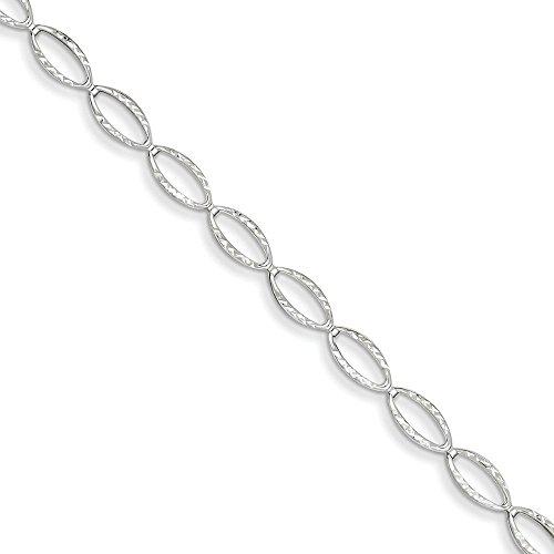 Bracelet Lien ovale en or blanc poli 14carats