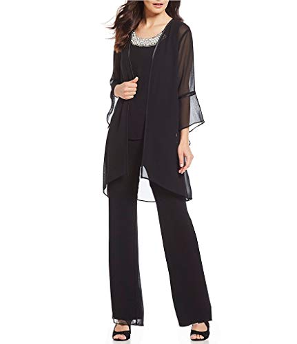 (Women's Mother of The Bride Pant Suits 3 Pieces Evening Special Occasion Dress Ouftit Groom Wedding(Black,US18 Plus))