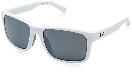 Under Armour Ua Assist Shiny White/Frosted Clear Frame/Gray/Multiflection Lens Wayfarer Sunglasses, White/ Gray, 54 - Under Sunglasses Armour Womens