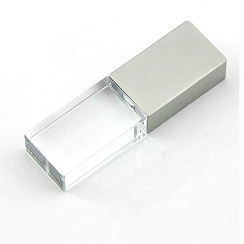 32GB USB 2.0 LED Light Flash Drive Crystal Transparent Glass Pen Drive Memory Stick Thumb Drives Pendrive (Usb Flash Drive Fancy)