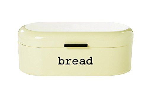 Retro Bin (Large Bread Box for Kitchen Counter - Bread Bin Storage Container With Lid - Metal Vintage Retro Design for Loaves, Sliced Bread, Pastries, Ivory, 17 x 9 x 6 Inches)