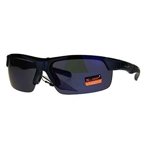 22e3edc7fc Xloop Sunglasses Mens Wrap Half Rim Sports Fashion Light Weight UV 400 Blue