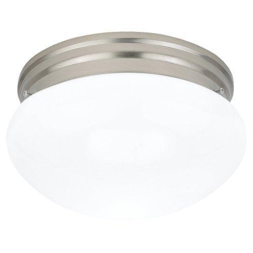 (Sea Gull Lighting 5328-962 Flush Mount with Smooth WhiteGlass Shades, Brushed Nickel Finish)