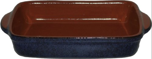 Roaster Clay (Amazing Cookware Large Terracotta Rectangular Deep Dish - 'Reactive Blue')
