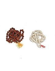 Rudraksha and White Tulsi Japa Mala Kanthi 108 + 1 Beads ( Set of 2) Natural Himalaya Rudraksha Seed Prayer Beads Wrist Mala Wrap Bracelet Necklace