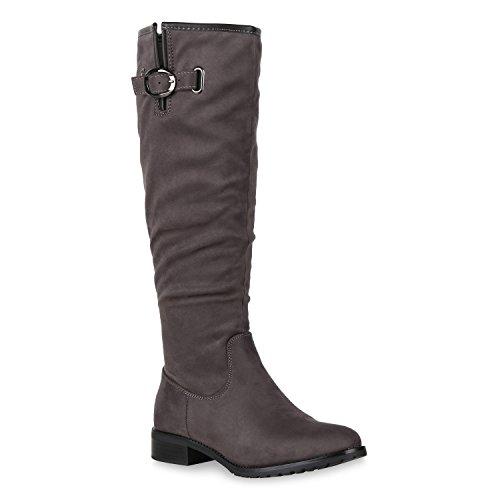 Stiefelparadies Klassische Damen Stiefel Leder-Optik Schuhe Boots Blockabsatz Schnallen Ösen Schnürungen Modische Langschaftfstiefel Flandell Grau Metallic