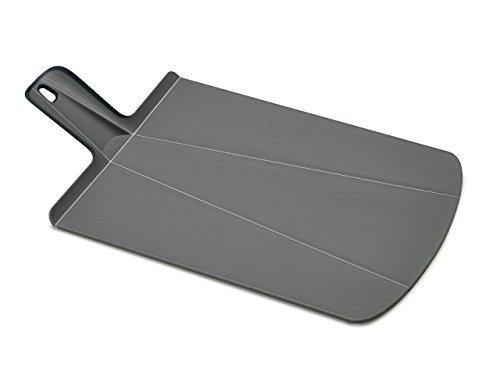 Joseph Joseph Chop2Pot Foldable Plastic Cutting Board 19-inch x 10.75-inch Chopping Board Kitchen Prep Mat with Non-Slip Feet 4-inch Handle Dishwasher Safe Lays Flat Folds Up, Large, Gray