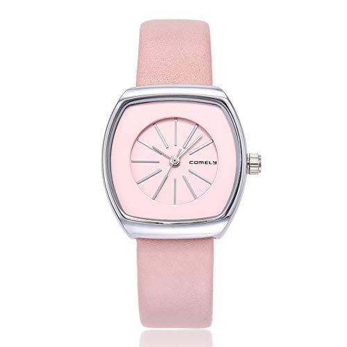 lightclub Fashion Tonneau Dial Women Scale Quartz Waterproof Party Office Wrist Watch Pink
