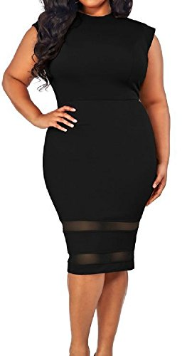 Sorrica-Womens-Plus-Size-Patchwork-Bodycon-Pencil-Office-Midi-Dress