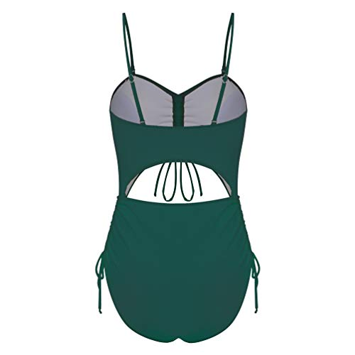 CIZITZZ Women's One Piece Swimsuit Cut Out High Waist Drawstring Padded Bathing Suits Monokinis,Army Green,XXL