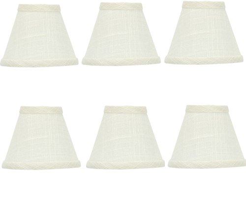 Beaded Mini Shade (Mini Chandelier Shades Clip On Small Lamp shade Set Of Six White Linen)