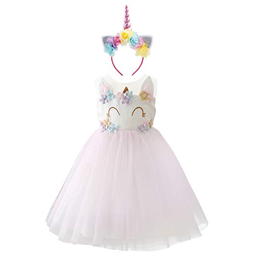 Baby Girl Unicorn Costume Pageant Flower Princess Party Dress with Headband D-2PCS Smile Unicorn Pink Outfits 4-5 - Princess Rhinestone Flower Pink