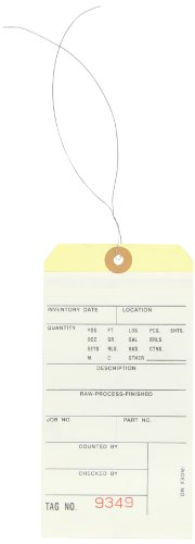 Aviditi Pre Wired 2 Part Carbonless #8 Inventory Tag, 9000-9499 Numbering, White/Manila (G15193)