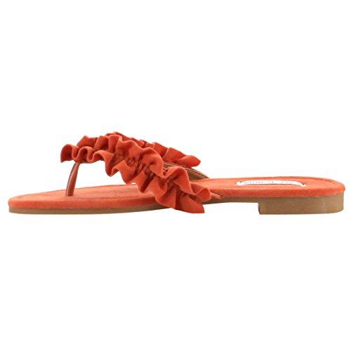 Slip Donna Di Cape Robbin Fh50 Con Sandali Piatti Stile Infradito Arruffati Arancione