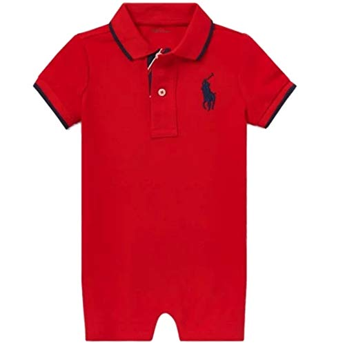 Ralph Lauren Baby Boys Shortalls Bodysuit Big Pony Mesh Pique Cotton Playwear Onesie (3 Months, RL2000 Red) (Ralph Lauren Baby Boy Bodysuit)