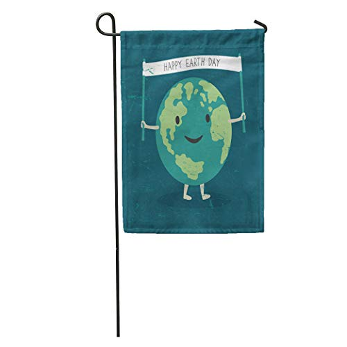 Semtomn Garden Flag Cartoon Earth Planet Smile and Hold Happy Day Words Home Yard House Decor Barnner Outdoor Stand 28x40 Inches Flag