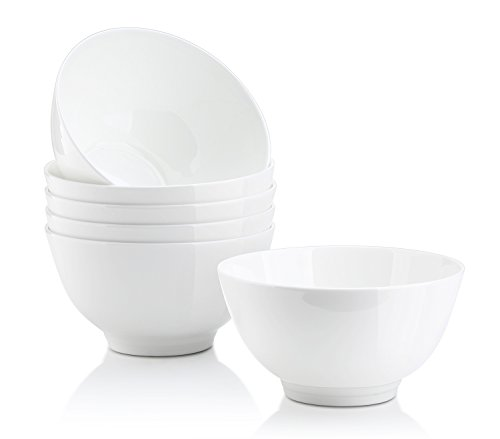 DOWAN 10 Oz Desserts Bowls for Ice Cream, Dips, Sauces, Bone China Side Dish Bowls, White, Set of 6