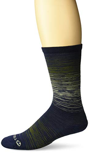 Merrell Men's 1 Pack Performance Casual Lifestyle Marl Crew Socks, peacoat, Shoe Size: 9.5-12