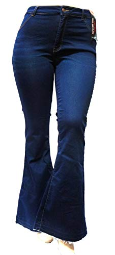 Jack David /Sweet Look High Waist Juniors Womens Plus 70s Flared Bell Bottom Denim Jeans Pants ()
