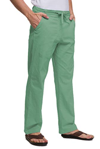 Janmid Men Casual Beach Trousers Linen Summer Pants (Blackish Green, 2XL)