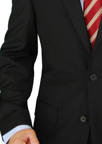 Presidential Giorgio Napoli 2 Button Mens Suit Modern Business Fit Pure Black