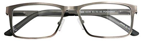 Eyecedar 5-Pack Reading Glasses Men Rectangle Frame Metal Grey Stainless Steel Material Spring Hinges Readers 2.50 by eyecedar (Image #5)
