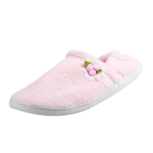 Elevin(TM)Pregnant Women Home Slippers Hairball Winter Autumn Warm Shoes Yoga Shoes Pink 2