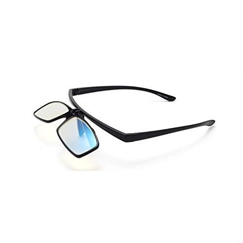 Liansan Flip Up Lens Anti Glare Blue Light PC Computer Reading Glasses for Men and Women Black +200