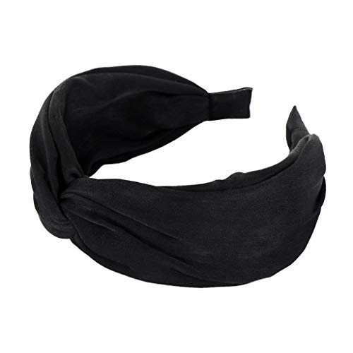 Pengy Headbands for Womens Headwraps Knitted Wide Headbands Twist Knot Cross Stretchy Solid Simple Hair Headwear Black