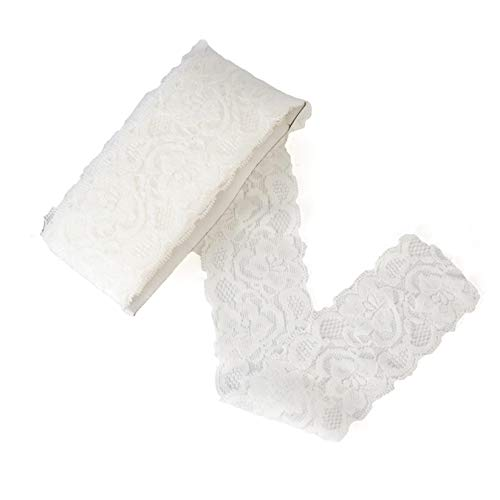 ELLAMAMA Elastic Lace Trim Soft Stretch DIY Craft Delicate Ribbon Vintage Flora Pattern 2-1/8 Inch Wide 10yds White for Wedding Decorations Headbands -
