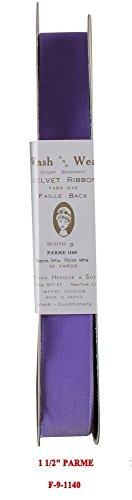 10 Yards Velvet Ribbon Fabric Vintage Taffeta Back Made in France (5/8