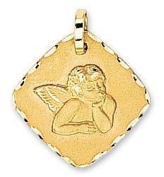 Diamantly - Médaille Ange Carré Diamanté - or 375/1000 (9 Carats) - Unisex - Enfant -Bebe-Adulte