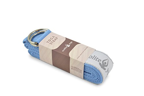EcoliteYoga Cotton Yoga Strap 8 foot with Metal D Ring available in multiple colors Best yoga straps for stretching, flexibility and traction.