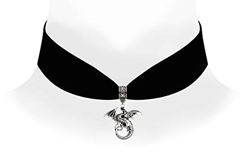 Victorian Vault Black Velvet Choker Steampunk Jewelry Gothic Dragon Pendant Necklace