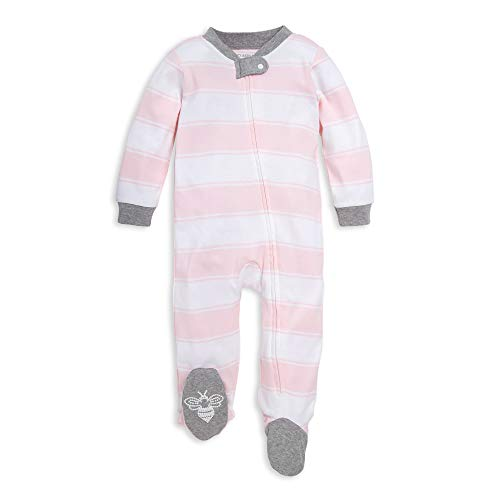 Burt's Bees Baby Baby Sleep & Play, Organic One-Piece Romper-Jumpsuit PJ, Zip Front Footed Pajama, Pink Stripes 3-6 Months