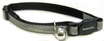 Ancol Gloss Reflective Cat Collar with Safety Buckle Silver