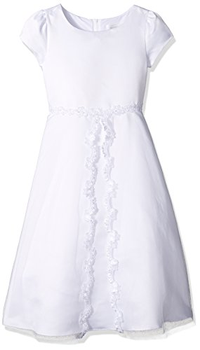 Lavender Girls Plus Size' a-Line Dress with Emroiderd Slit from Mesh Overlay, White, S/8X