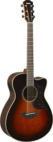 Yamaha 6 String Series AC1R Small Body Cutaway Acoustic-Electric Guitar-Rosewood, Tobacco Sunburst, Concert - Acoustic Cutaway Guitar Concert Electric