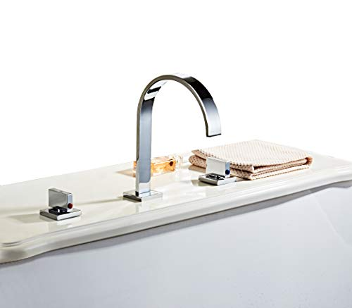 - HHOOMMEE Two Handles Bath Mixer Taps Widespread Waterfall Bathroom Sink Faucet or Bath Tub Faucet, Chrome Finished, Unique Designer Vanity Cooper Plumbing Fixtures Roman Tub Faucets