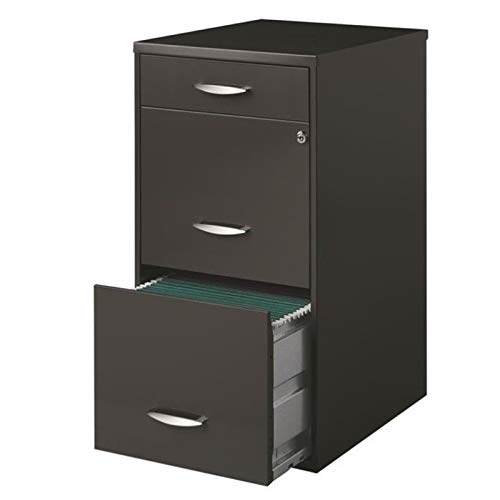 "Pemberly Row 3 Drawer 18"" Deep Metal File Cabinet in Charcoal"