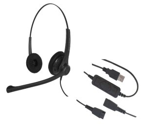 Smith Corona VoiceLync Binaural USB Headset with GN Netcom/Jabra QD, Detachable Bottom USB Cord