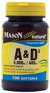 Mason natural A-5000 IU with D-400 IU softgels, Fish liver oil - 100 Ea