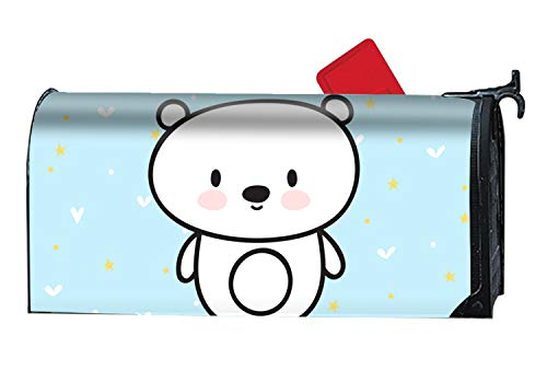 em1973 9X21 Inches Cute Postcard with Funny Little Bear Mailbox Cover- Magnetic Strips for Steel Standard Rural Mailbox ()