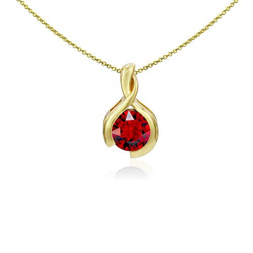 Sea of Ice Yellow Gold Flashed Sterling Silver 8mm Round Created Ruby Pendant Necklace for Woman, 18 Inch