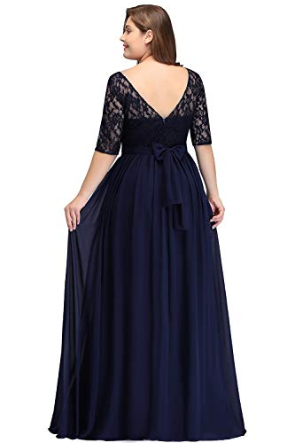 Spitze Ballkleid Elegant Übergröße Ärmel Damen Misshow Chiffon mit Schwarz Abendkleid Lang 4wtcfzq