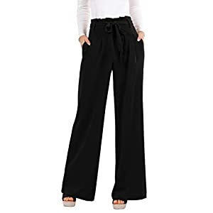 Womens Pants Wide Leg High Waisted Palazzo Pant Casual Loose Fit Long Pockets Trousers with Belt